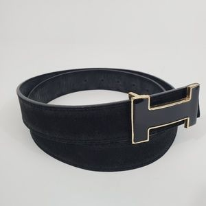 Women's Black Belt with Decorative Black and Gold